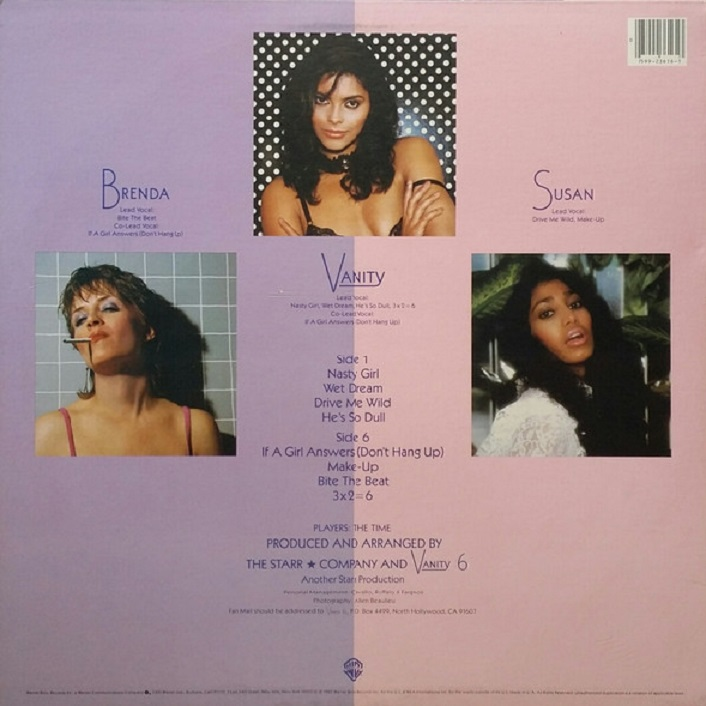 Vanity 6 Self Titled album back cover
