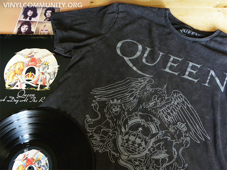 Queen band t-shirt and a day at the races LP for Vinyl T-shirt Tuesday