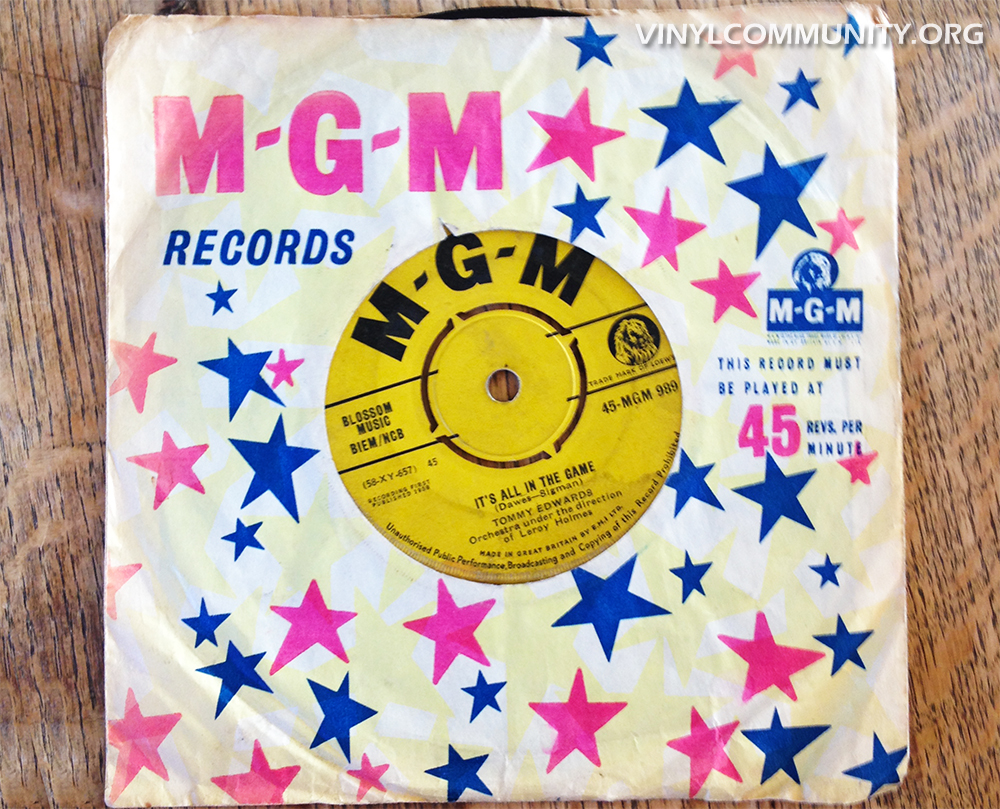 It's All In The Game by Tommy Edwards. 45 rpm vinyl single.